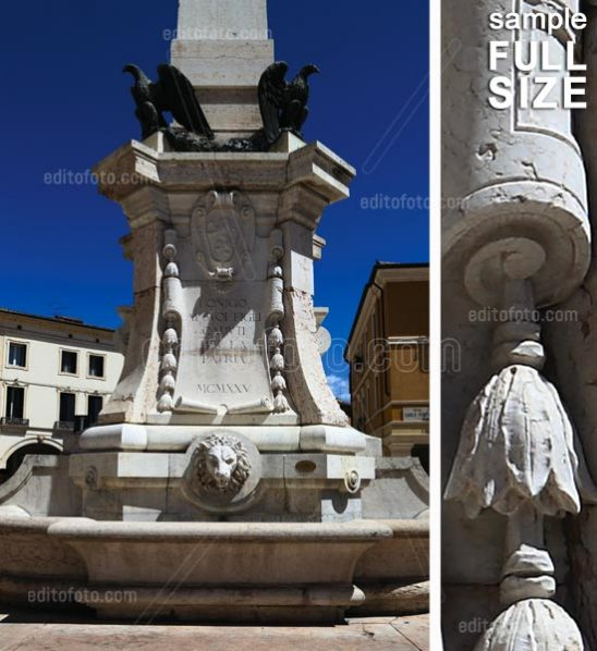 Lonigo, war memorial, located in Piazza Garibaldi, Veneto, Italy.